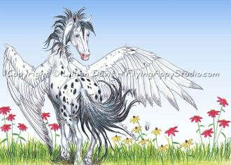 Coming Soon!  Horse art, fantasy & botanical prints and greeting cards from Flying Appy Studio.