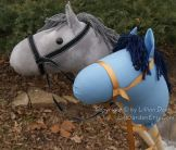 Gray and Blue stick horses